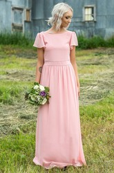 Chiffon Bateau-neck Short Sleeve Bridesmaid Dress with Pleats