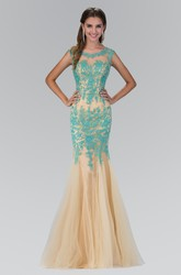 Mermaid Maxi Scoop-Neck Sleeveless Tulle Illusion Dress With Appliques