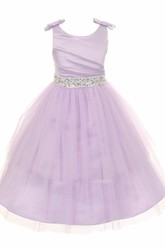 Jewel Short Pleated Tiered Tulle&Satin Flower Girl Dress With Sash