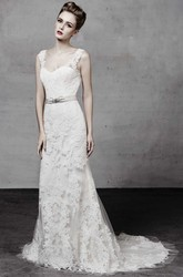 A-Line Sleeveless Appliqued V-Neck Floor-Length Lace Wedding Dress With Waist Jewellery