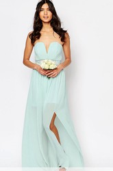 Ankle-Length Criss-Cross Notched Sleeveless Chiffon Bridesmaid Dress