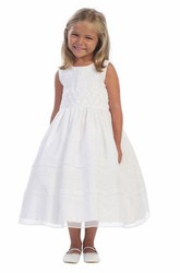 Tea-Length Tiered Embroideried Organza Flower Girl Dress