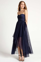 High-Low Ruched Strapless Tulle Bridesmaid Dress