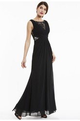 Lace Appliqued Top A-line Chiffon Sleeveless Bateau Elegant Gown