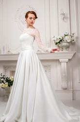 A-Line High Neck Long-Sleeve Satin&Lace Wedding Dress