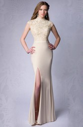 Sheath Side Slit Jersey High Neck Homecoming Dress With Lace Top