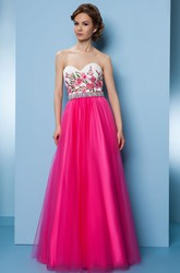 A-Line Floor-Length Sleeveless Sweetheart Embroidered Tulle&Satin Prom Dress With Beading
