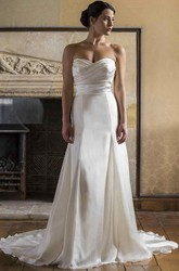 Sheath Sweetheart Satin Wedding Dress With Criss Cross