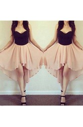 A-line High-low Sleeveless Sweetheart Pleats Chiffon Homecoming Dress
