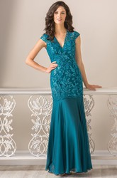 Cap-Sleeved V-Neck Long Mother Of The Bride Dress With Keyhole Back And Dropped Waistline