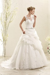 A-Line Floor-Length Sleeveless Bateau-Neck Pick-Up Lace&Organza Wedding Dress With Waist Jewellery And Appliques
