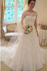 New Arrival Lace A-line Princess Wedding Dresses 2018 With Cap Sleeves