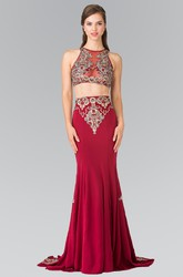Two-Piece Sheath Maxi Jewel-Neck Sleeveless Jersey Illusion Dress With Appliques And Pleats