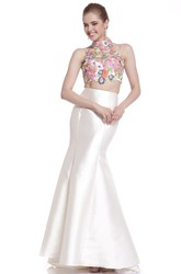 Trumpet High Neck Sleeveless Satin Illusion Dress With Appliques