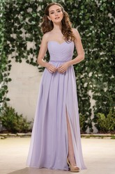 Sweetheart A-Line Long Bridesmaid Dress With Front Slit And Beadings