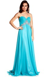 Floor-Length Sweetheart Criss-Cross Sleeveless Chiffon Prom Dress