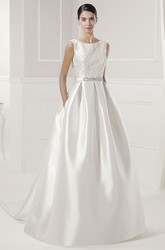 Jewel Neck Pleated Taffeta Bridal Gown With Beading Sash And Back Bows
