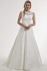 A-Line Bateau Lace Sleeveless Maxi Satin Wedding Dress With Illusion Back And Court Train