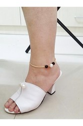 Western Style Trade Hot Korean Popular Foot Fashion Pearl Inlaid Black Beads Anklet Jewelry