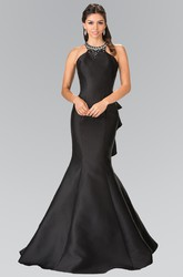 Mermaid Long Scoop-Neck Sleeveless Satin Straps Dress With Beading And Draping