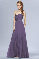 Sweetheart A-Line Long Bridesmaid Dress With Ruches And Beadings
