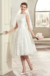 Jewel-Neck Knee-Length Bridal Gown With Satin Bodice And Illusive Lace Back