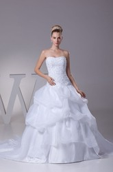Strapless Appliqued A-Line Ball Gown Organza Wedding Dress With Pick-Up Design