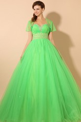 Empire Princess Ball Gown Soft Tulle Prom Dress With Jacket and Beading
