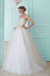 Ball Gown Long Sweetheart Tulle Wedding Dress With Beading And Corset Back