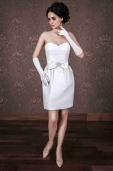 Pencil Short Sweetheart Satin Wedding Dress With Bow