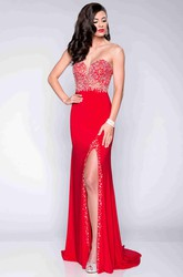 Illusion Back Side Split Form-Fitted Jersey Prom Dress With Sequin Detailing