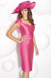 Knee-Length Cap Sleeve V-Neck Ruched Satin Mother Of The Bride Dress