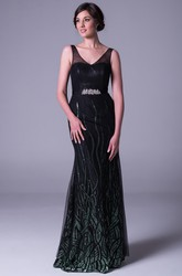 Sheath Sequined Long V-Neck Sleeveless Prom Dress With Beading