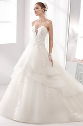 Sweetheart A-Line Wedding Gown with Lace Appliques Bodice and Tiers Skirt