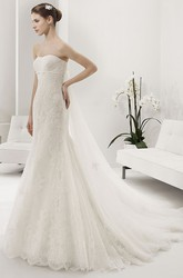 Strapless Allover Lace Sheath Bridal Gown With Sash