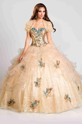 Lace And Organza Ball Gown With Ruffles And Beaded Flowers