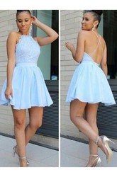 A-line Short Mini Sleeveless Halter Pleats Ruching Chiffon Lace Homecoming Dress