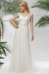 V-Neck Floor-Length Cap-Sleeve Appliqued Tulle&Lace Wedding Dress With Bow