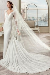Sweetheart Sheath Lace Long Wedding Dress With Court Train And Keyhole Back