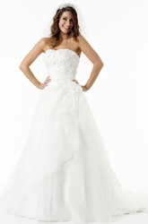 A-Line Sleeveless Floor-Length Appliqued Strapless Satin Wedding Dress With Flower