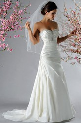 Crystal Sweetheart Taffeta Bridal Gown With Ruching