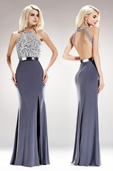 Sheath Jewel-Neck Sleeveless Jersey Backless Dress With Beading And Appliques