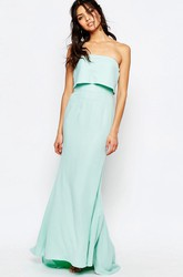 Ankle-Length Sheath Strapless Chiffon Bridesmaid Dress With Brush Train