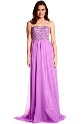 Beaded Strapless Chiffon Prom Dress With Brush Train