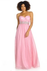A-Line Ruched Long Sweetheart Sleeveless Prom Dress With Waist Jewellery