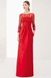 Sheath 3-4-Sleeve Floor-Length Appliqued Bateau-Neck Satin Prom Dress With Bow