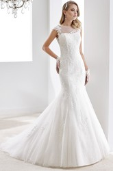 Sweetheart Ruching A-line Wedding Gown with Beaded Decoration and Pleated Bodice