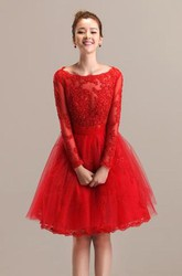 Lace and Tulle A-line Bateau Long Sleeve Short Dress