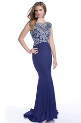 Mermaid Jersey Cap Sleeve Prom Dress With Rhinestone Bodice And Court Train