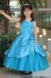 Ankle-Length Tiered Beaded Tulle&Lace Flower Girl Dress With Sash